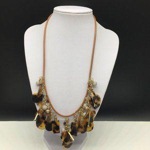 Ann Taylor Loft Leather Acrylic Tortoise Necklace